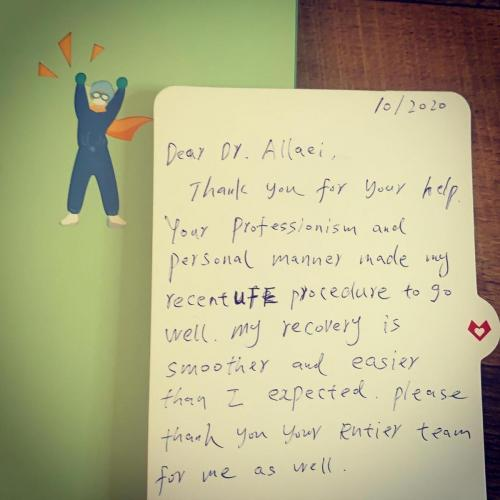 Patient testimonial thank you card after UFE